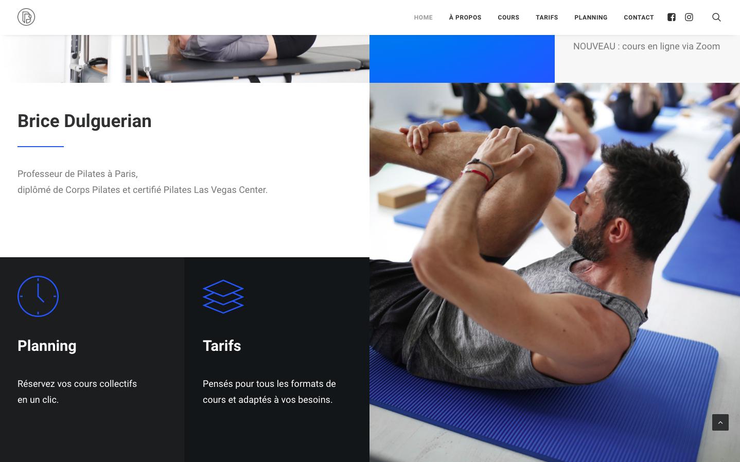Création de site sur Wordpress - Brice Pilates - Brice Dulguerian - In blossom