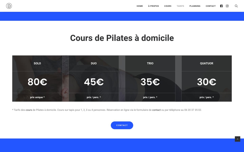 Création de site sur Wordpress - Brice Pilates - Cours à domicile - In blossom