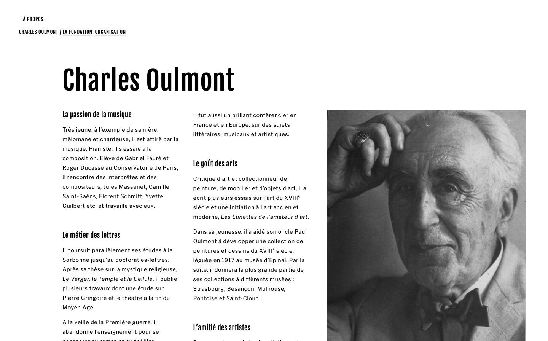 Refonte de site sur Squarespace - Fondation Charles Oulmont - Portrait - In blossom