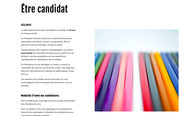 Refonte de site sur Squarespace - Fondation Charles Oulmont - Candidat - In blossom