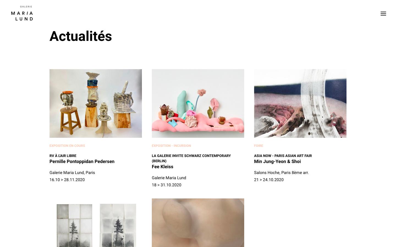 Refonte de site Galerie MariaLund - Les actualités - In blossom