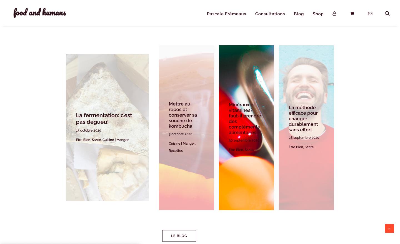 Création de site e-commerce - Food and Humans - Derniers articles - In blossom