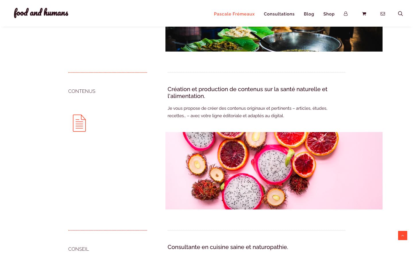 Création de site e-commerce - Food and Humans - À propos - In blossom