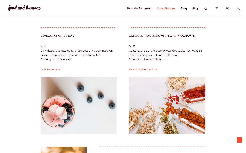 Création de site e-commerce - Food and Humans - Consultations Suivi et Programme - In blossom
