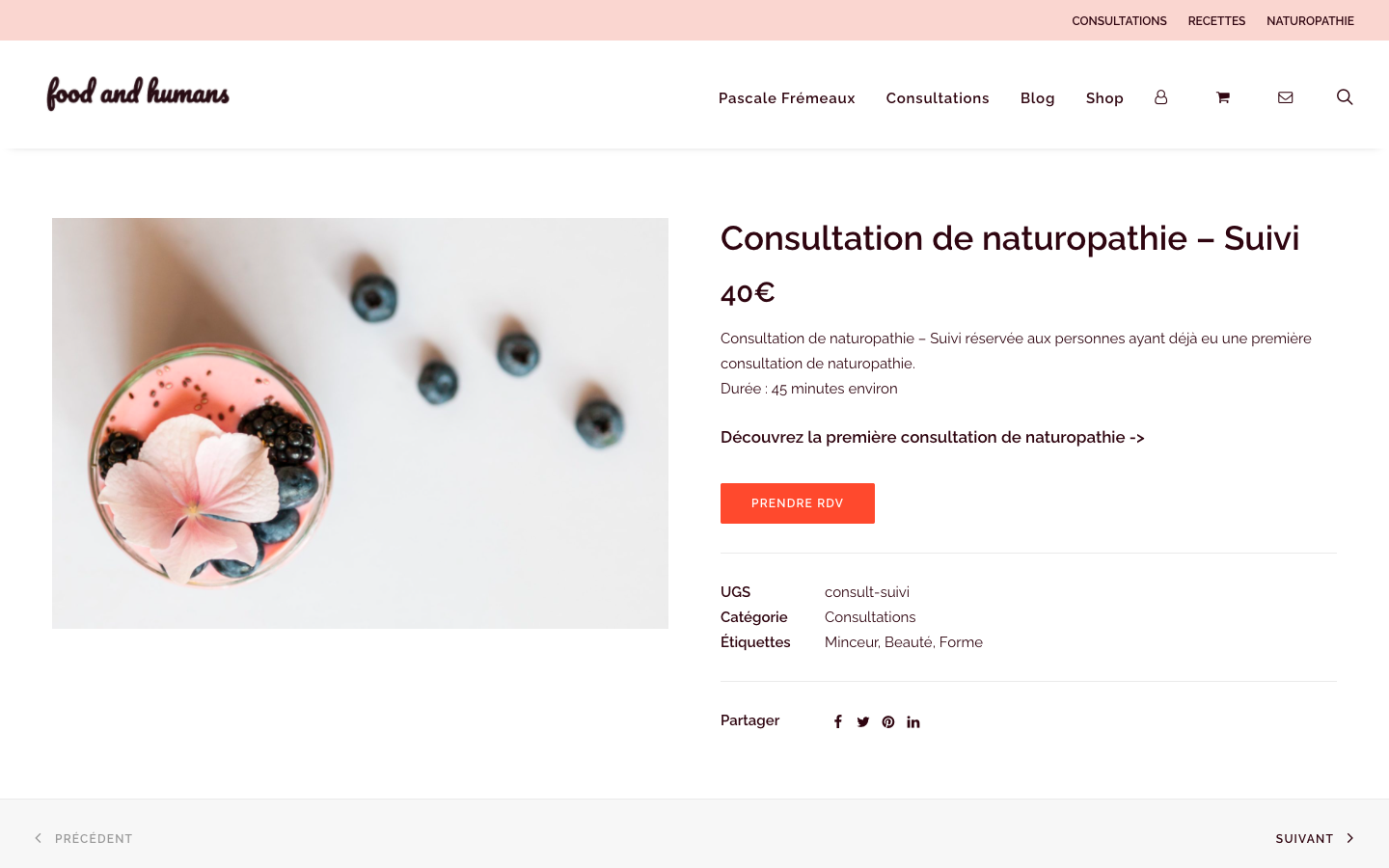 Création de site e-commerce - Food and Humans - Consultation Naturopathie - In blossom