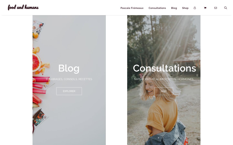 Création de site e-commerce - Food and Humans - Accueil Blog et Consultations - In blossom