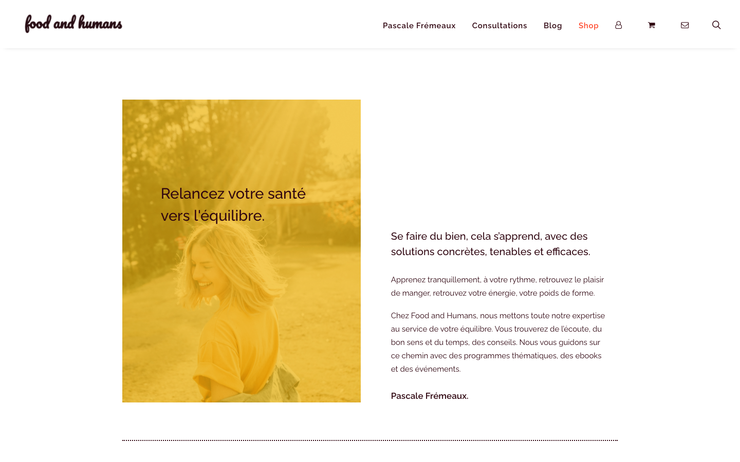 Création de site e-commerce - Food and Humans - Shop - In blossom